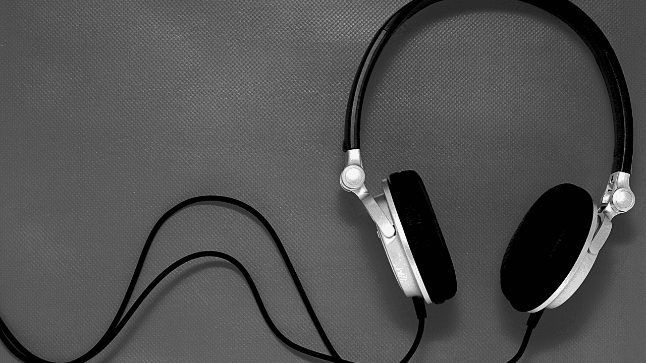 Headphones on a solid background